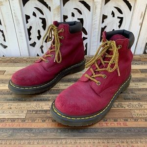 Red lace up Dr. Martens boots